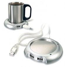 Calentador Taza Hub USB Plata (Espera 2 dias)