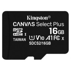 MICROSD KINGSTON 16GB CL10 UHS-1 CANVAS SELECT PLUS (Espera 4 dias)